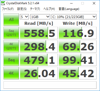 crystal disk mark の結果