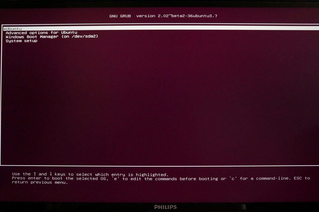 ubuntu boot menu